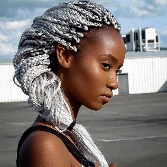 Strieborné box braids