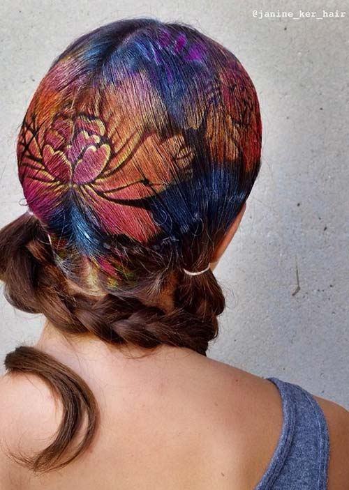 Květované vlasové tetování