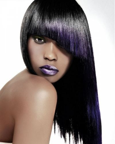 asymmetric fringe with purple ombre