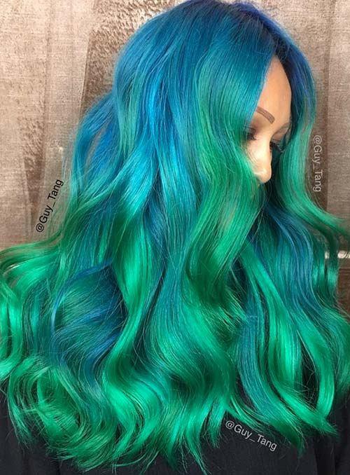 Modro-zelené vlasy